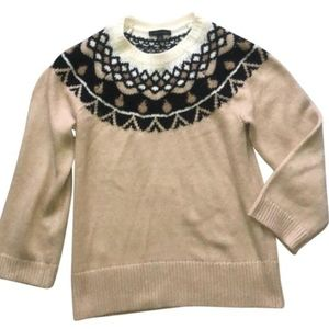 Ann Taylor Fair Isle Crew Neck Wool Alpaca Sweater